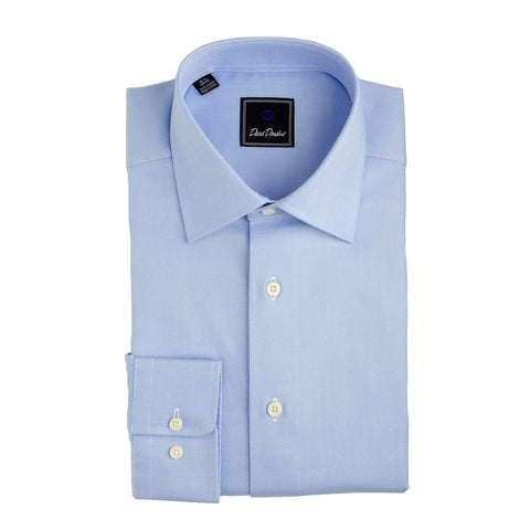 Royal Oxford Barrel Cuff Trim Fit Dress Shirt in Blue by David Donahue