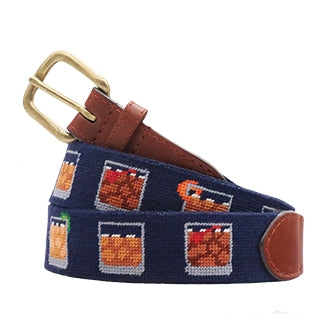 Bourbon Five Ways Needlepoint Belt on Dark Navy by Smathers & Branson