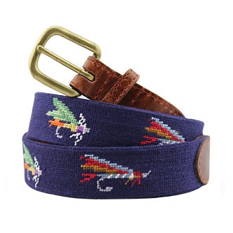 Fishing Flies Needlepoint Belt on Dark Navy by Smathers & Branson