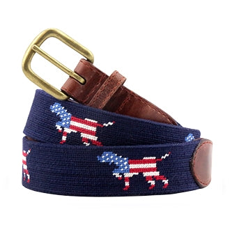 Patriotic Dog on Point Needlepoint Belt on Dark Navy by Smathers & Branson