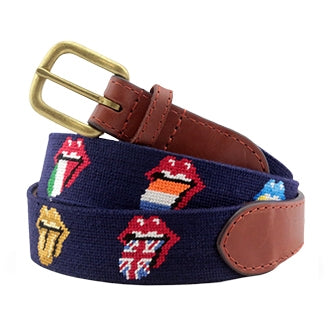 Rolling Stones Multi Licks Needlepoint Belt on Navy by Smathers & Branson