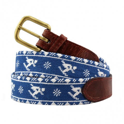 Skier Fairisle Needlepoint Belt on Blueberry by Smathers & Branson