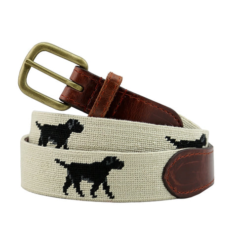 Black Lab Needlepoint Belt on Khaki by Smathers & Branson