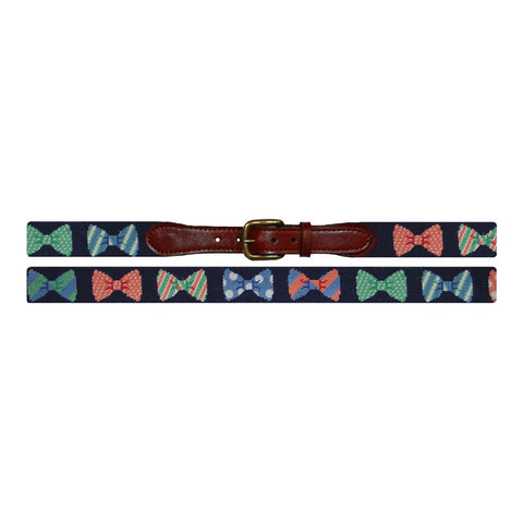 Bow Ties Needlepoint Belt in Navy by Smathers & Branson