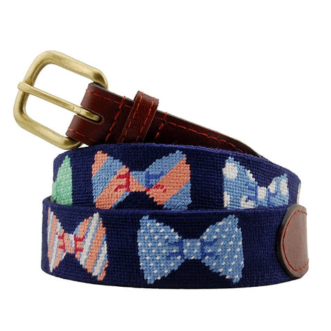 Bow Ties Needlepoint Belt on Navy by Smathers & Branson