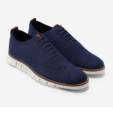 ZeroGrand Stitchlite Wingtip Oxford in Marine Blue-Ivory by Cole Haan