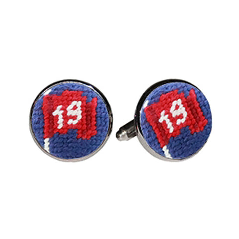 19th Hole Needlepoint Cufflinks by Smathers & Branson