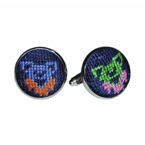 Dancing Bears Needlepoint Cufflinks by Smathers & Branson