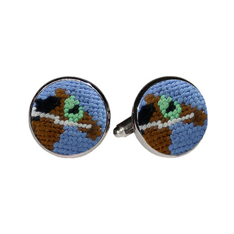 Race Horse Needlepoint Cufflinks by Smathers & Branson