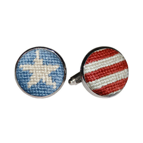 Stars & Stripes Needlepoint Cufflinks by Smathers & Branson