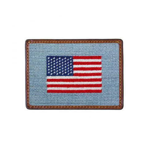 American Flag Needlepoint Card Wallet in Antique Blue by Smathers & Branson