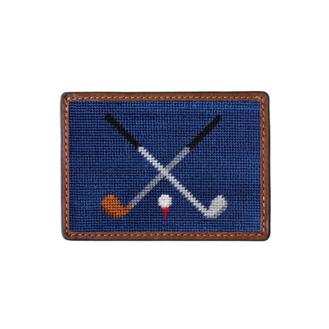 Crossed Clubs Needlepoint Card Wallet by Smathers & Branson