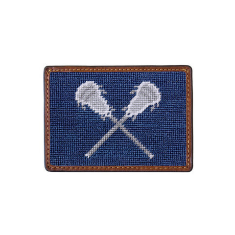 Lacrosse Sticks Needlepoint Card Wallet by Smathers & Branson