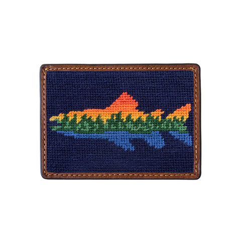 Lake Trout Needlepoint Card Wallet in Dark Navy by Smathers & Branson