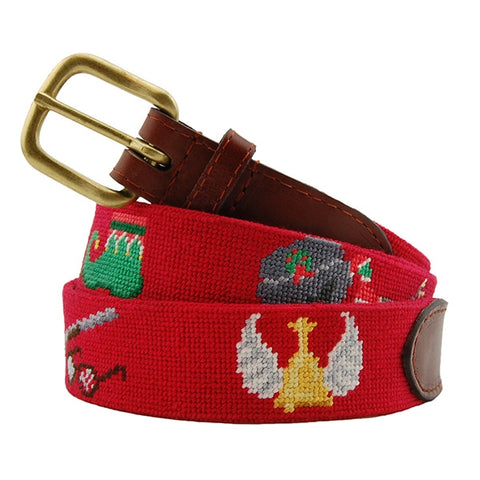 Christmas Movies Needlepoint Belt on Red by Smathers & Branson