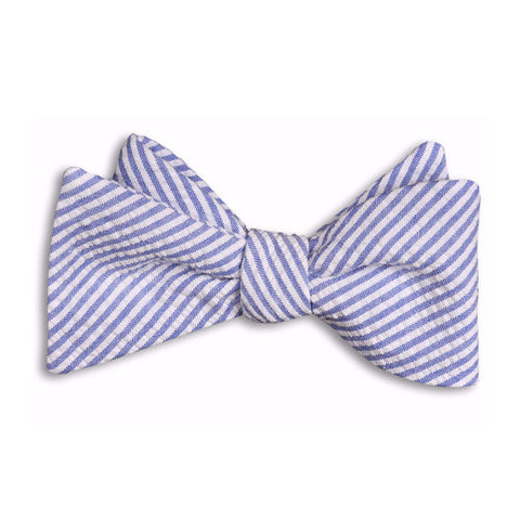Classic Blue Seersucker Stripe Bow Tie by High Cotton