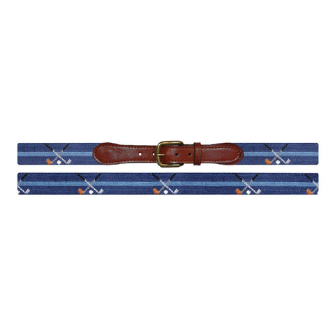 Crossed Clubs Needlepoint Belt in Navy by Smathers & Branson