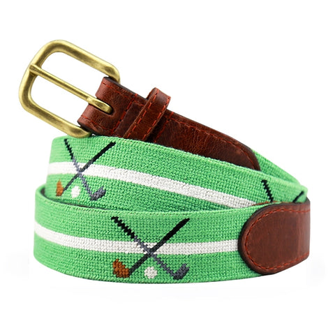Crossed Clubs Needlepoint Belt on Mint by Smathers & Branson