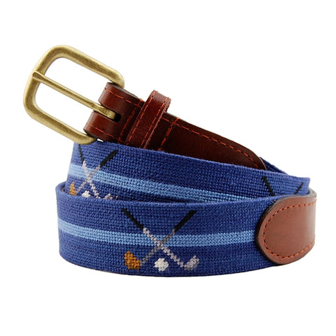 Crossed Clubs Needlepoint Belt on Navy by Smathers & Branson