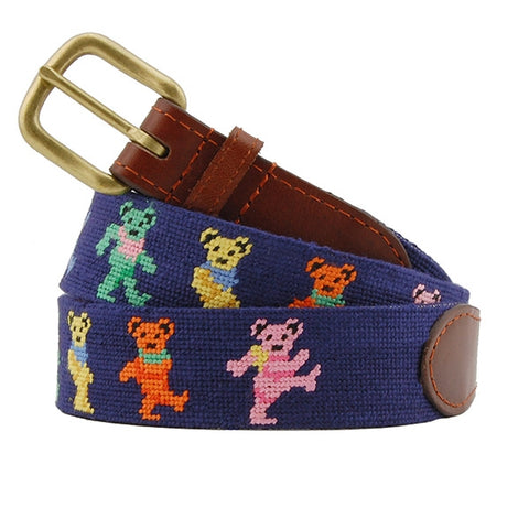Dancing Bears Needlepoint Belt on Navy by Smathers & Branson