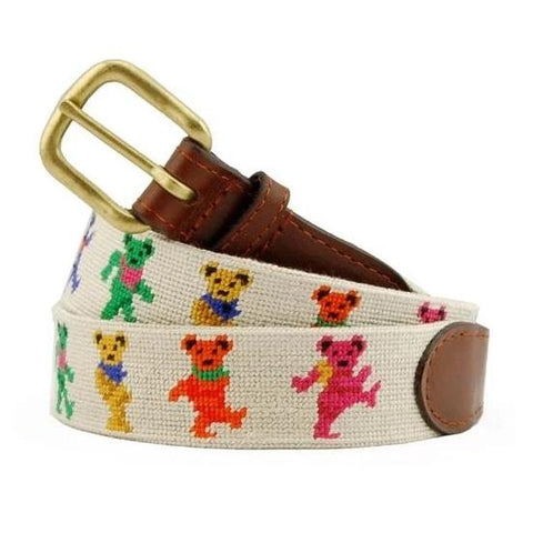 Dancing Bears Needlepoint Belt on Oatmeal by Smathers & Branson