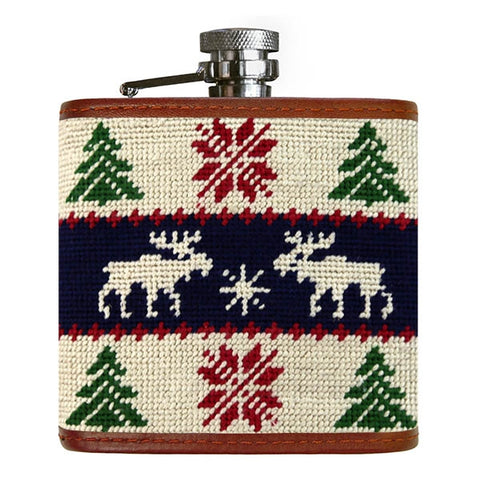 Christmas Sweater Needlepoint Flask by Smathers & Branson