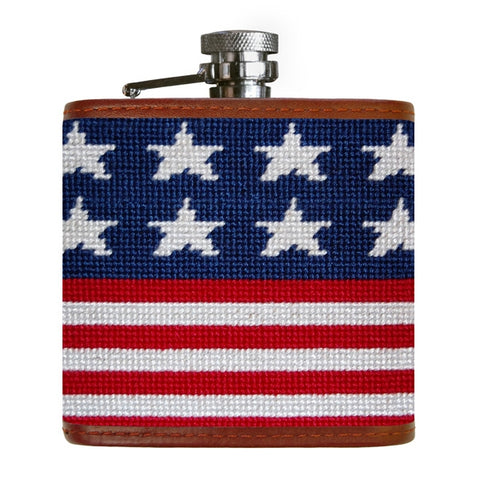 Old Glory Needlepoint Flask by Smathers & Branson