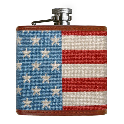 Stars and Stripes Needlepoint Flask by Smathers & Branson