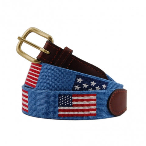 Flags Of Our Fathers Needlepoint Belt on Stream Blue by Smathers & Branson