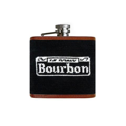 Bourbon Street Needlepoint Flask on Black by Smathers & Branson