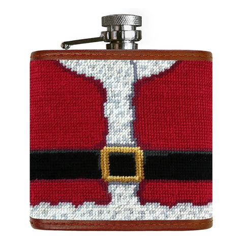 Santa Needlepoint Flask by Smathers & Branson