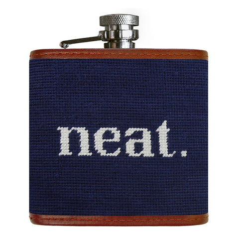 Neat Needlepoint Flask on Dark Navy by Smathers & Branson