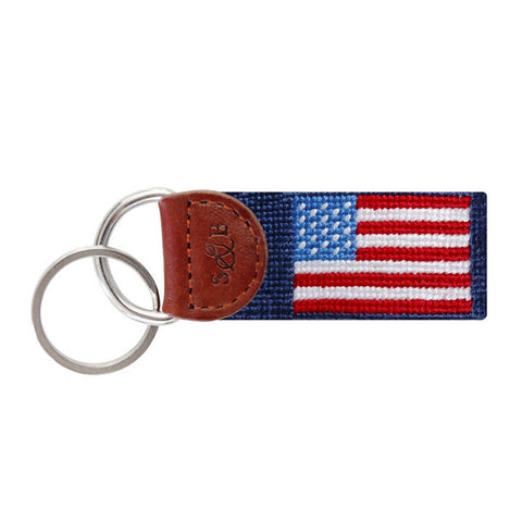 American Flag Needlepoint Key Fob in Navy by Smathers & Branson