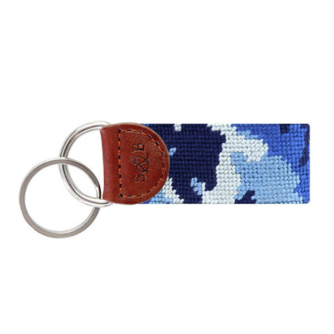 Blue Camo Needlepoint Key Fob in Blue by Smathers & Branson