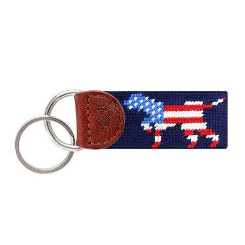 Patriotic Dog on Point Needlepoint Key Fob in Navy by Smathers & Branson