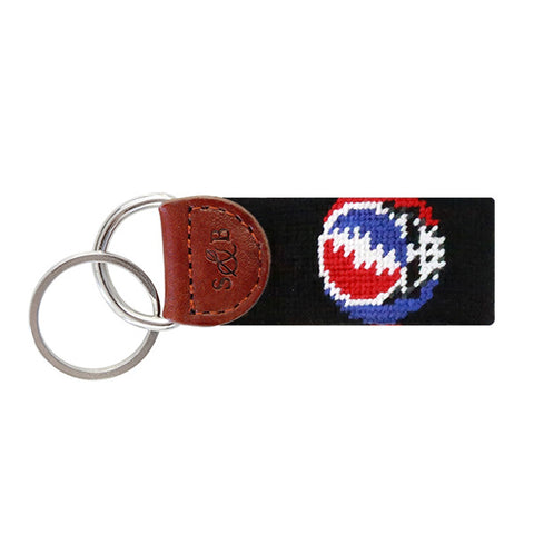 Steal Your Face Needlepoint Key Fob in Black by Smathers & Branson