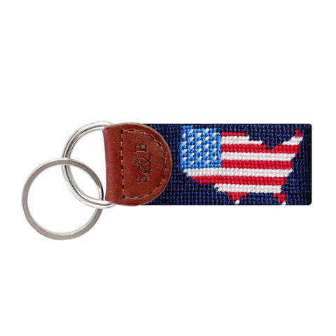 USA Map Needlepoint Key Fob in Navy by Smathers & Branson