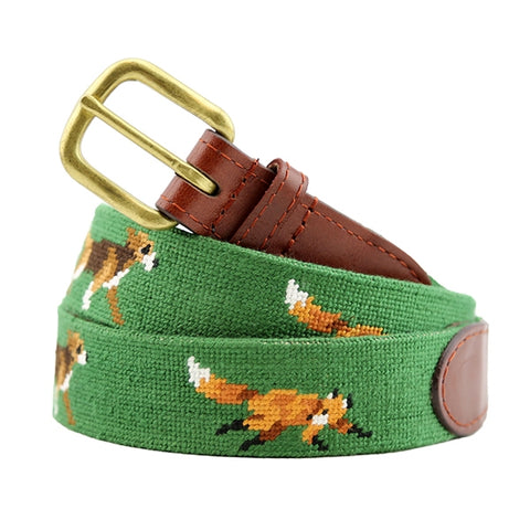 Fox and Hound Needlepoint Belt on Dark Forest by Smathers & Branson