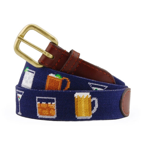 Gentlemen's Drinks Needlepoint Belt on Dark Navy by Smathers & Branson