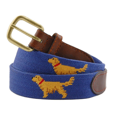 Golden Retriever Needlepoint Belt on Blue by Smathers & Branson