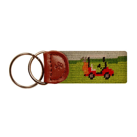 Golf Cart Needlepoint Key Fob by Smathers & Branson