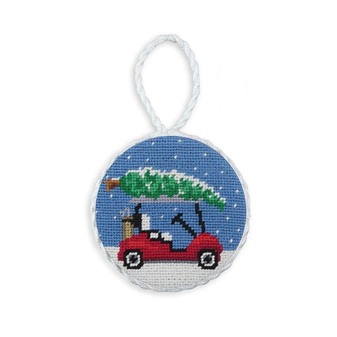 Christmas Golf Cart Needlepoint Ornament by Smathers & Branson