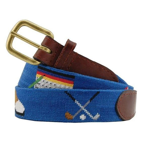 Golfer's Life Needlepoint Belt on Blueberry by Smathers & Branson