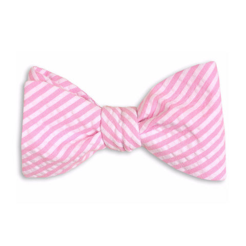 Pink Seersucker Stripe Bow Tie by High Cotton