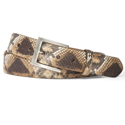 Python Belt with Brushed Nickel Buckle in 2 Colors by W.Kleinberg