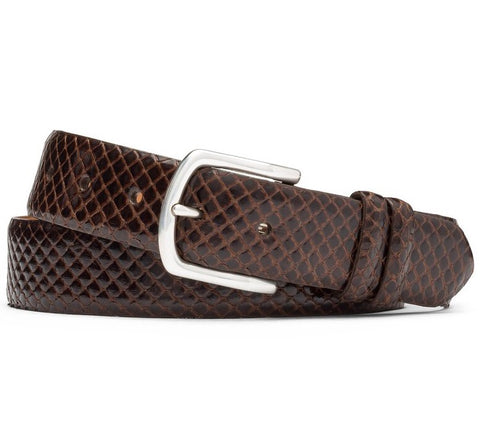 Anaconda Belt With Antiqued Nickel Buckle in Chocolate by W.Kleinberg
