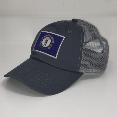 Kentucky Flag Trucker Hat in Charcoal by Logan's