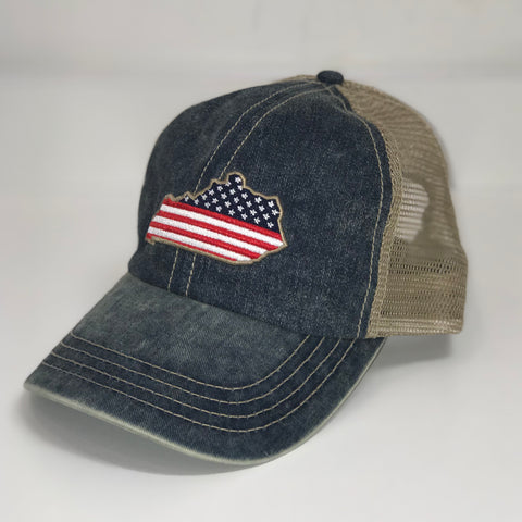 Kentucky Patriot Trucker Hat in Blue by Logan's