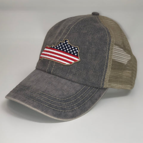 Kentucky Patriot Trucker Hat in Charcoal by Logan's