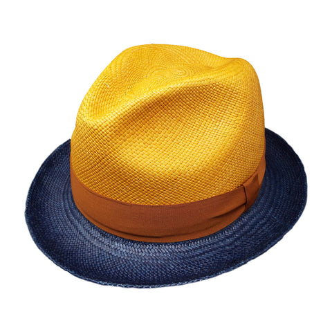 Jason Combinado Panama Hat in Navy and Gold by One Fresh Hat